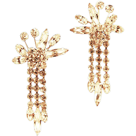 Vendome Dripping Rhinestone Earrings,  ca 1940s
