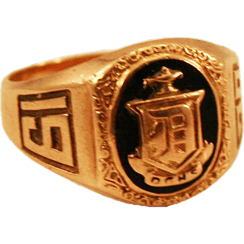 "1929 Art Deco 10k Yellow Gold Class Ring Aladdin Lamp and Shield ""D"""