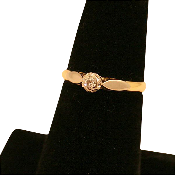 Vintage 18k White and Yellow Gold Diamond Engagement Ring