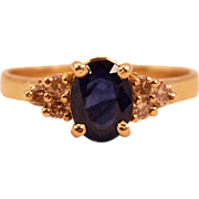 ca 1980s ala Charles/Diana Wedding 14K Gold Sapphire and Diamonds Ring