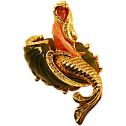 Whimsical Vintage Thermoplastic Mermaid Brooch Rhinestones and Enamel