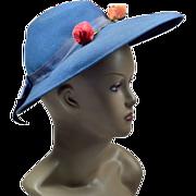 Unique Cornflower-Blue Vintage Hat