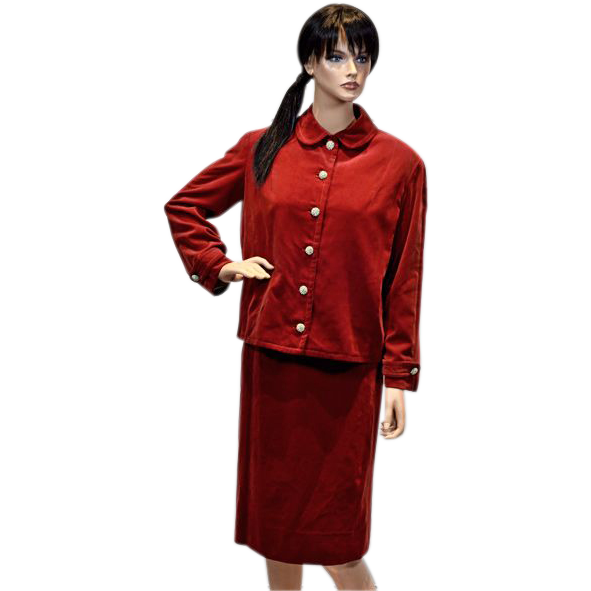 Show Stopper Rare I. Magnin Ruby Red Velvet Jacket and Dress