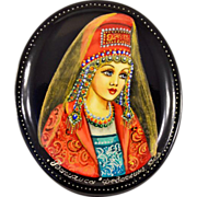 "Highly-Collectible Hand-Painted Russian Fedoskino Lacquer Box With Classic Fairy Tale ""Vasilisa"""