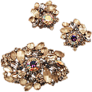 Hobe Glittery Glam Earrings and Brooch Set
