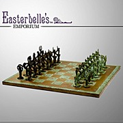 Vintage 60s Copper Chess Board with Lost Wax Bronze Player Pieces