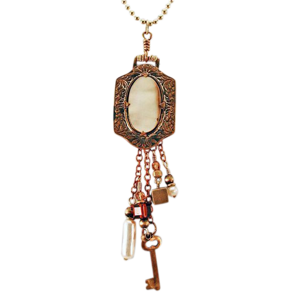 OOAK Davison Victorian Brass Inlaid Mother of Pearl Belt Buckle Charm Necklace