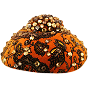 Show-Stopping Very Rare Hattie Carnegie Cap with Paisley Velveteen and Rhinestones
