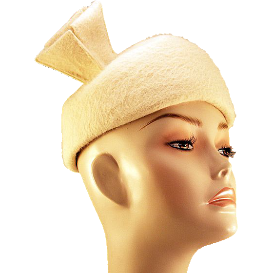 Gorgeous Classic Schiaparelli White Beaver Fur Hat