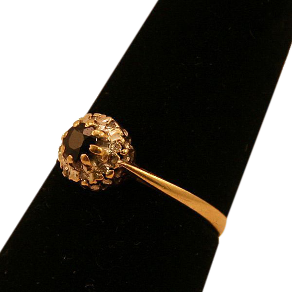 Brilliant Diamond and Black Sapphire 9 Karat Gold Ring