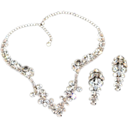 Head Turning Schiaparelli Sparkling Rhinestones Earring and Necklace Set