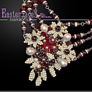 Jaw-Dropping Miriam Haskell Red Glass Bead Faux Pearl Necklace Opulent and Glamorous