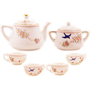 "Charming Vintage ""Hand Painted Nippon"" Miniature Porcelain Tea Set"