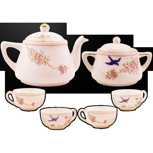 "Charming Vintage ""Hand Painted Nippon"" Miniature Porcelain Tea Set"