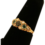 ca 1924 12K Gold Emerald and Pearls Ring Charming