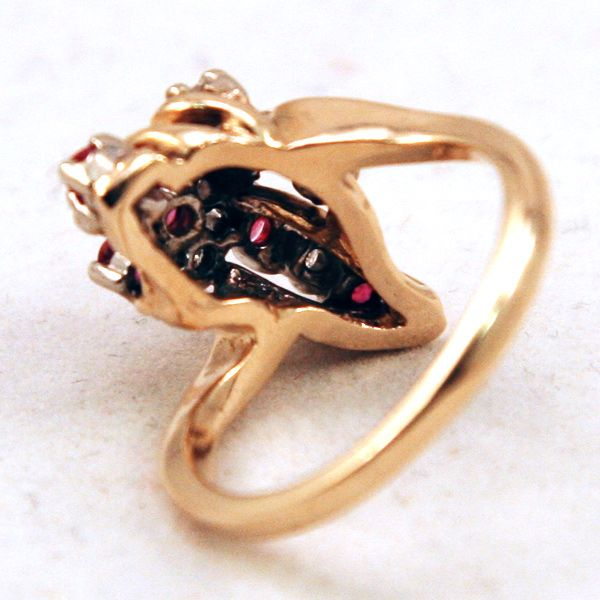 14k gold diamonds amp rubies cluster ring from easterbelles emporium on
