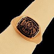 ca 1923 10k Gold Art Deco Class Signet Ring