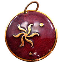 "Fun Retro ""Genuine Copper"" and Enamel BIG Pendant"