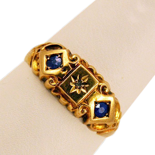 ca 1900s Fully Hallmarked 18K Diamond Sapphires Ring Beautiful