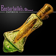 Antique Chatelaine Emerald Green Perfume Bottle Original Stopper