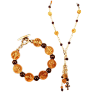 OOAK Davison High Quality Convertible Citrine, Garnet & Marcasite Necklace and Bracelet Set