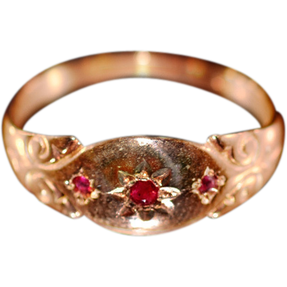 ca 1927 Lovely 9K Rose Gold Ruby Spinel Gypsy Ring Fully Hallmarked
