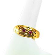 ca 1863 Fully Hallmarked 15K Rose Gold Ruby Spinel Freshwater Pearl Gypsy Ring