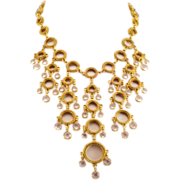 Incredible, Glamorous Vintage Bib-Style Necklace Runway Worthy