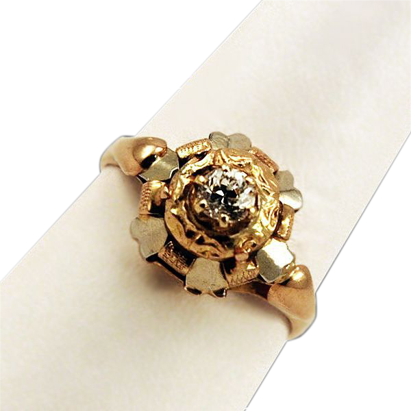 Big Bold 18K Gold and Diamond Ring Gorgeous!