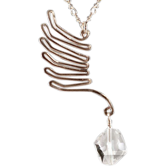 OOAK Susan Davison Sterling Silver Wing Pendant with Swarovski Accent