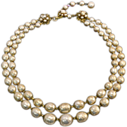 Regal Miriam Haskell Faux Pearl Necklace - Two Strands