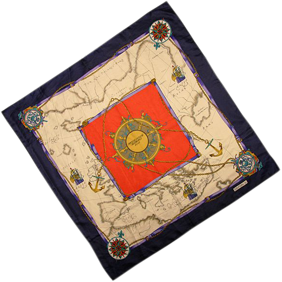 World Traveler Vintage Scarf with a Stylized Map - Beautiful!