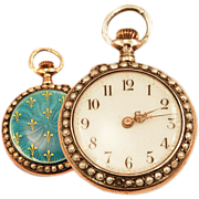 Ladies Antique 14K Rose Gold Over Sterling Pocket Watch Guilloche Enameling and Fleur de Lis Detail