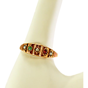 Victorian 10k Rose Gold Ring with Natural Gemstones