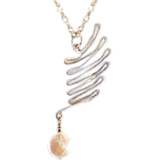 OOAK Davison Beautiful Sterling Silver Wing with Coin Pearl Pendant Necklace