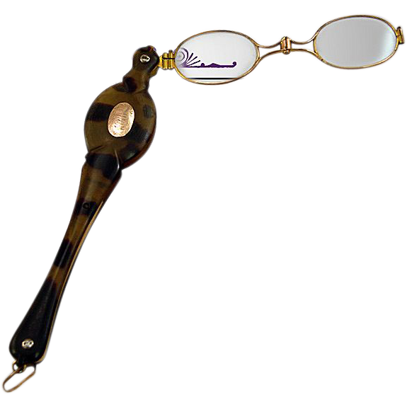 Victorian 14K Gold Plate and Tortoise Lorgnette