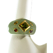 Amazing Genuine Green Jade Ring with 14k Gold Framed Gemstones