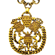 "Bold, Brass Military Style ""Reinad"" Pendant with Heavy Chain"