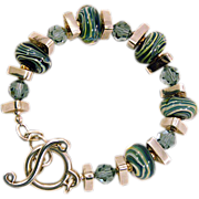 OOAK Davison Cool Ice-Blue and Green Lampwork Beads Sterling Silver Bracelet