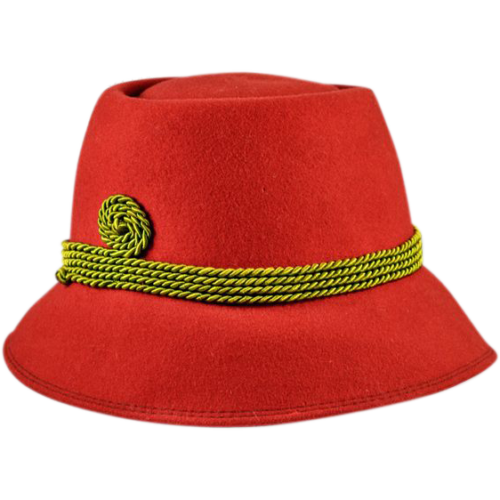 Vibrant Tschler Cloche in Ruby-Red Wool