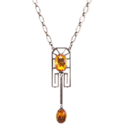 Gorgeous Antique Sterling and German Silver E. A. Bliss Necklace - Honeybee Hallmark
