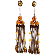 Boho Elegant Rare Hattie Carnegie Fringed Earrings with Victorian Flair