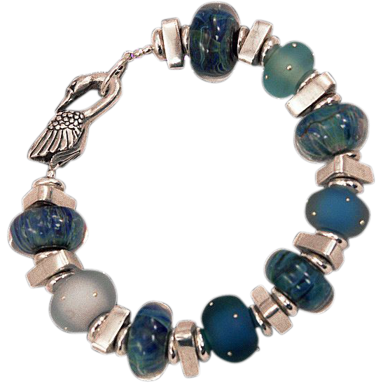 OOAK Davison Dreamy Blues Custom and Art Beads Sterling Silver Custom Clasp