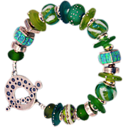 OOAK Davison Bright Spring Greens Custom and Art Beads Sterling Silver Bracelet