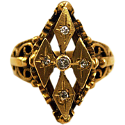 Victorian 14K Gold and 5 Diamond Etruscan Revival Ring