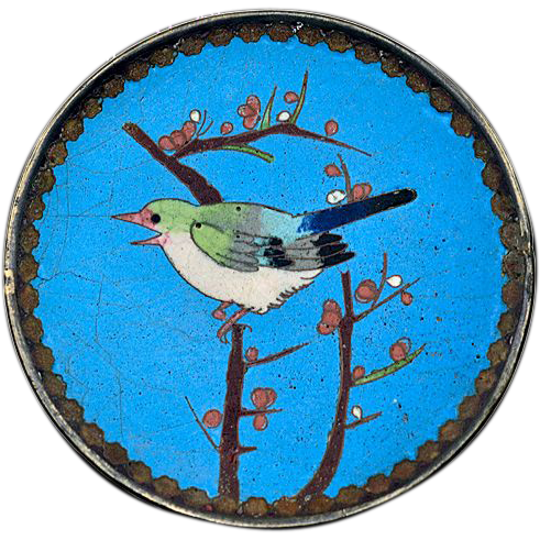 Vintage Japanese Cloisonné with Bronze on Ceramic Colorful Bird Plate