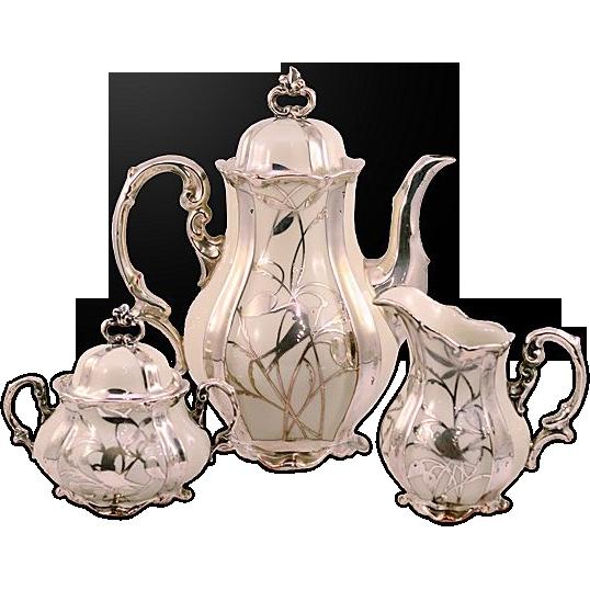 Vintage Hertel Jacob & Co. Bavaria Germany  Sterling Silver on Porcelain Coffee Set
