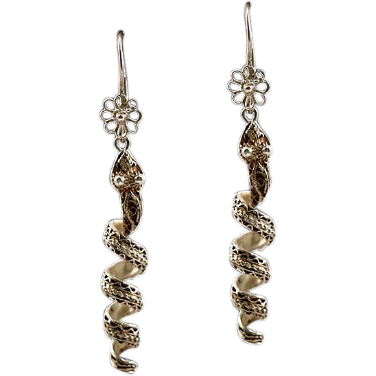 Enchanting Antique Sterling Silver .925 Snake Serpent Earrings