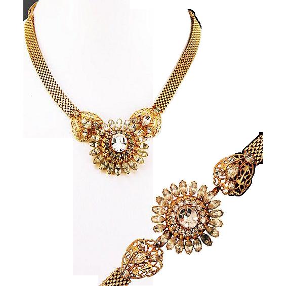 ca 1946 Phyllis Signed 12K Gold Filled Rhinestone Necklace and Bracelet