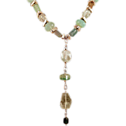 OOAK Davison Dramatic Raw Tourmaline, Amethyst, Aquamarine, Chalcedony Sterling Chained Necklace